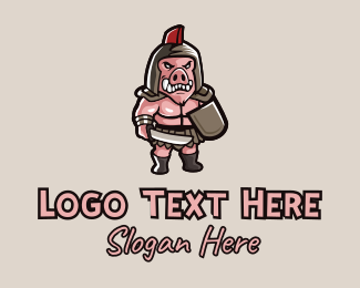 Weaponry - Gladiator Pig Warrior  logo design