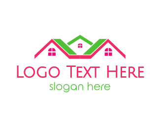 Realty - Pink Green Neighborhood logo design