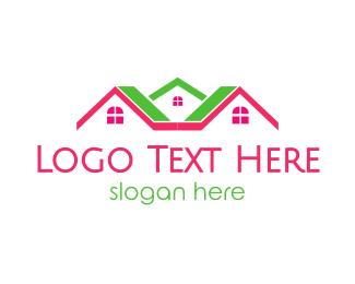 House Painter - Pink Green Neighborhood logo design