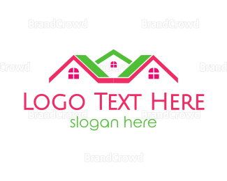 Mansion - Pink Green Neighborhood logo design
