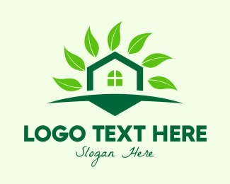 Eco Living - Green Eco Home logo design