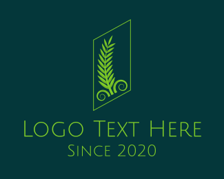 Soil - Green Classical Palm Leaves logo design