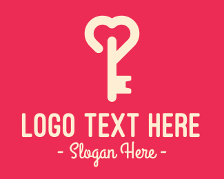 Unlock - Pink Heart Key logo design