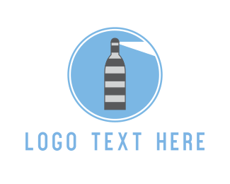 Pub - Wine Lighthouse logo design