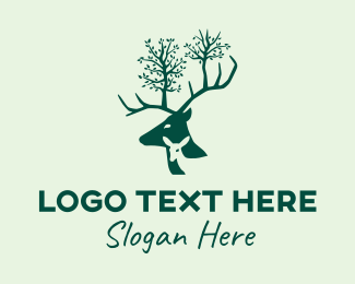 Animal Sanctuary - Green Deer Family logo design