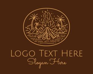 Hut - Campsite Bonfire logo design