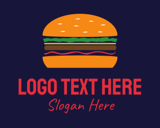 Burger - Orange Hamburger logo design