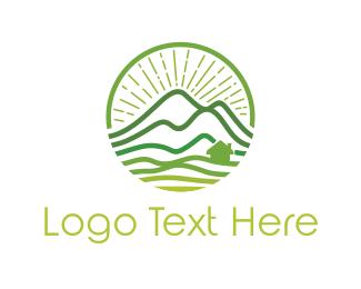 Field - Green Mountain Landscape logo design