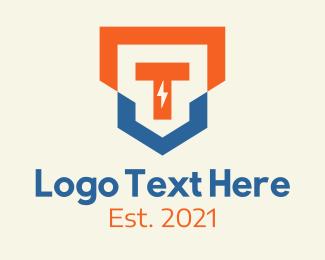 T - Lightning Crest Letter T logo design