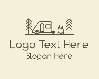 Explore - Brown Monoline Campervan logo design