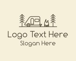 Explorer - Brown Monoline Campervan logo design