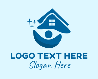 Window Cleaner - Clean House Cleaner logo design