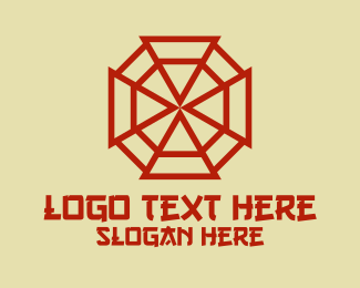 Symbolism - Red Chinese Bagua Mirror  logo design