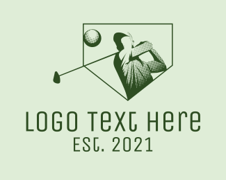 Golf - Minimalist Golf Player logo design