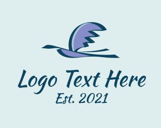 Brushstroke - Flying Migratory Bird logo design