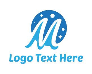 Astronomy - Moon Star Letter M logo design