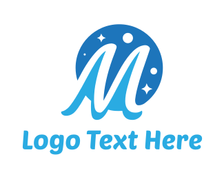 Astrological - Moon Star Letter M logo design