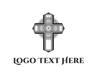 Church And Religious Floral Cross logo design