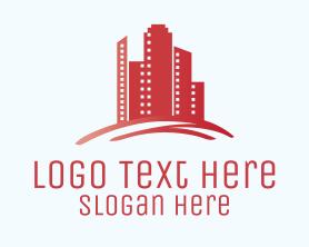 Town - Red Real Estate Buildings logo design