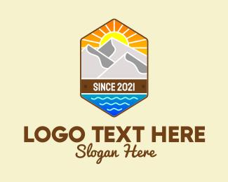 Camp Site - Outdoor Mountain Badge  logo design