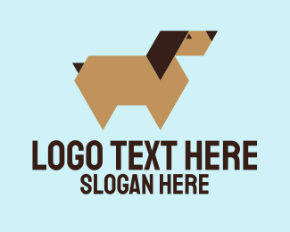 Brown Dog - Brown Geometric Dog logo design