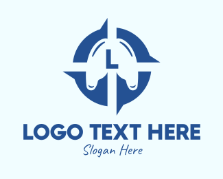 Pulmonary - Blue Lung Compass Lettermark logo design