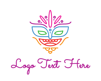Burning Man - Colorful Mask Outline logo design