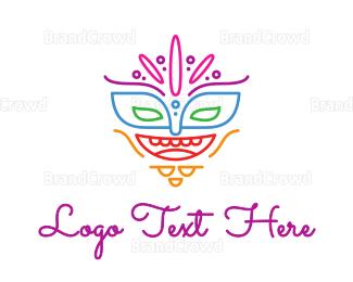 Burning Man - Colorful Mask Outline logo design