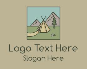 Hiking - Teepee Outdoor Camping logo design