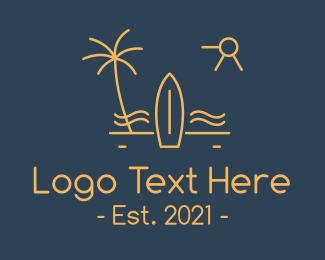 Getaway - Minimalist Surfboard Island logo design