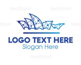 Cyber - Digital Opera House logo design
