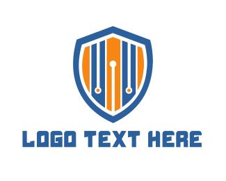 Defend - Stripe Shield logo design