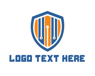 Chip - Stripe Shield logo design