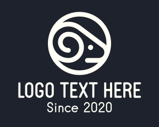 Zodiac Sign - White Round Sheep logo design
