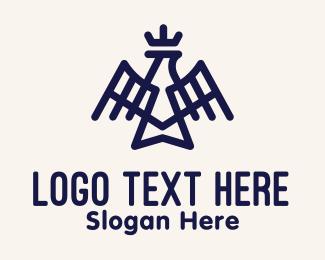 Inca - Blue Royal Eagle Monoline logo design