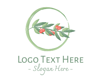 Mistletoe - Watercolor Christmas Mistletoe logo design