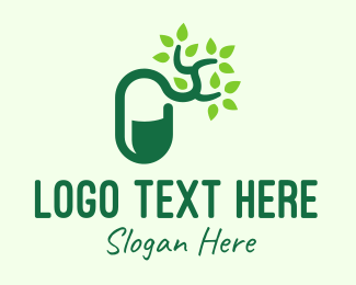 Traditional Medicine - Green Organic Medicine Pill logo design