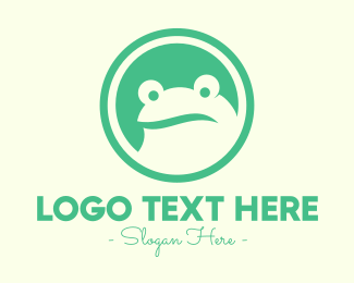 Frog Eyes - Confused Green Frog logo design