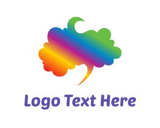 Chat - Rainbow Brain logo design