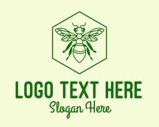 Buzz - Green Bee Hexagon Emblem  logo design