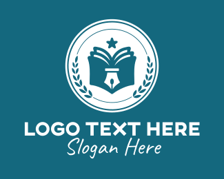 Library - Writing Pen Book logo design