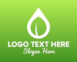 Water Treatment - Nature Leaf Droplet logo design