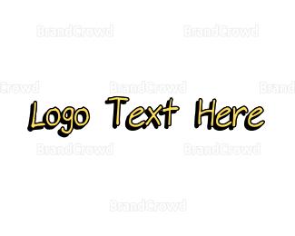Black And Yellow - Yellow Handwritten Font logo design