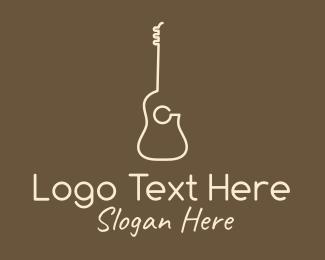 Guitar School - Minimalist Acoustic Guitar logo design