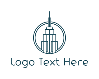 Ny - Blue Outline Tower logo design