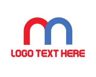 Red And Blue - Modern M logo design