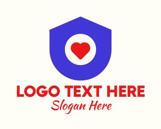 House - Simple Heart Shield logo design