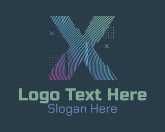 Fortnite - Modern Glitch Letter X logo design