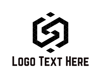 Black Hexagon - Hexagonal Letter S logo design