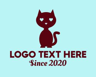 Cat Cafe - Cat In Love  logo design